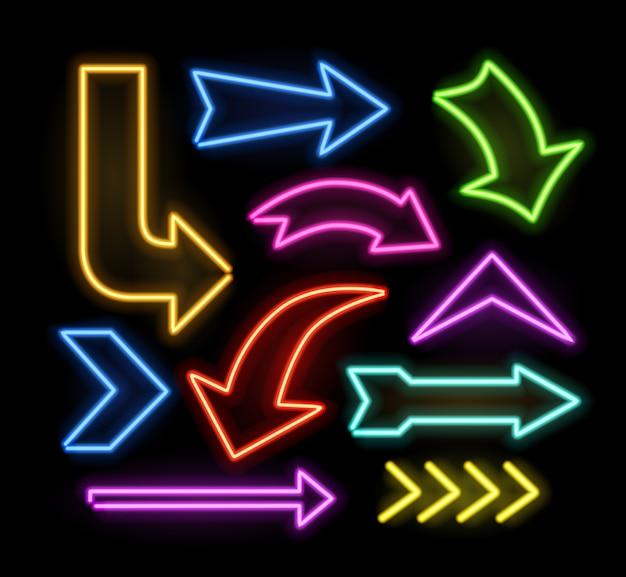 Neon leuchtende pfeile gesetzt