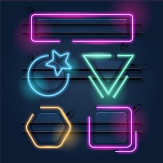 Neon leuchtende rahmenkollektion