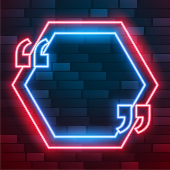 Neon leuchtender zitatrahmen mit textraum