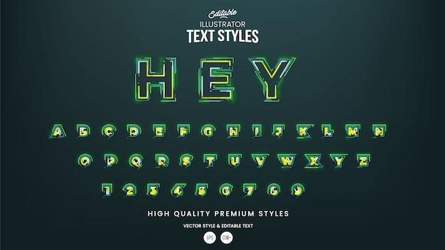 Neon leuchtendes alphabet. helle schrift. bearbeitbarer texteffekt im grafikstil