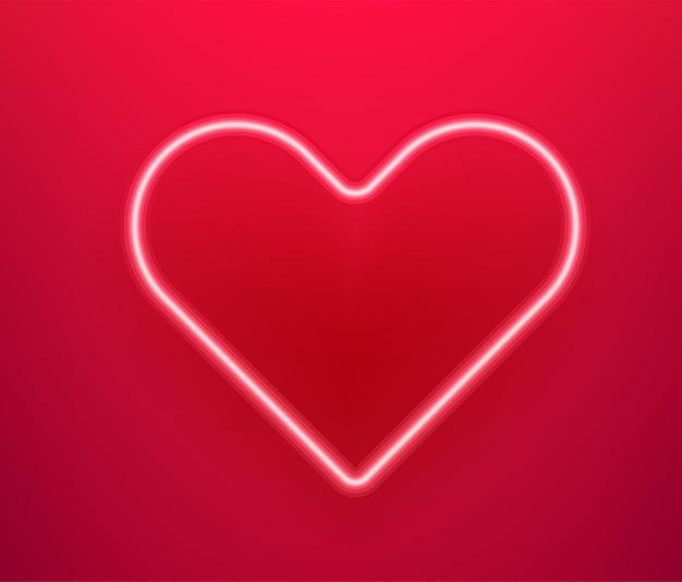 Neon leuchtendes herz. fröhlichen valentinstag