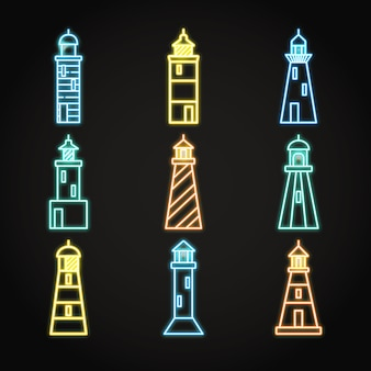 Neon-leuchtturm-icon-set