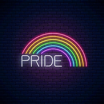 Neon lgbt regenbogen mit stolz text.