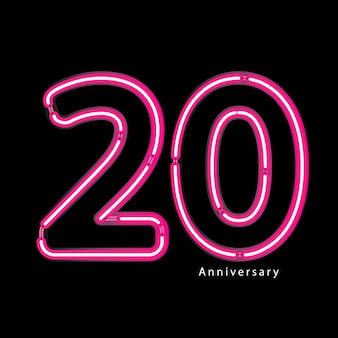 Neon lichteffekt 20-jähriges jubiläum