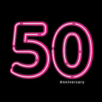 Neon lichteffekt 50. jahrestag