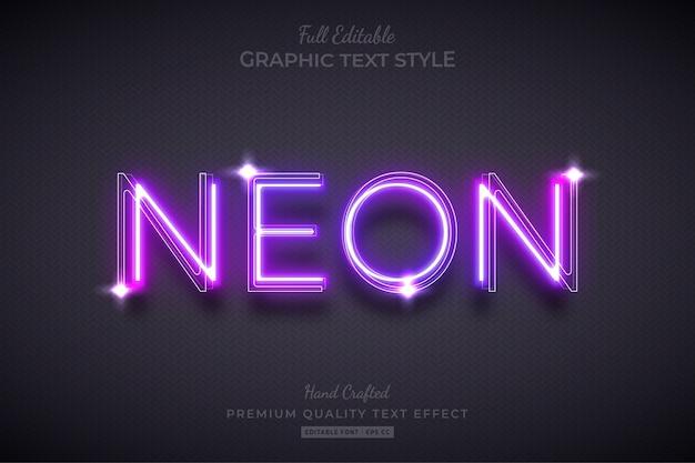Neon lila bearbeitbarer textstil-effekt