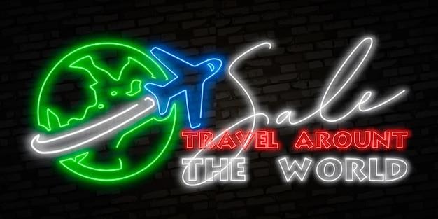 Neon logo flugzeug fliegt um den planeten.