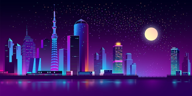 Neon-megapolis am fluss in der nacht