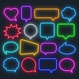 Neon mehrfarbige sprechblase auf einem transparenten hintergrund. helle lichtrahmen für anführungszeichen und text.