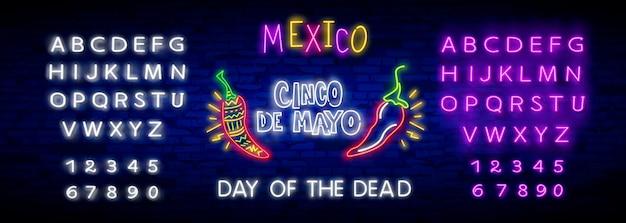 Neon mexicanfont und ikone für cinco de mayo.