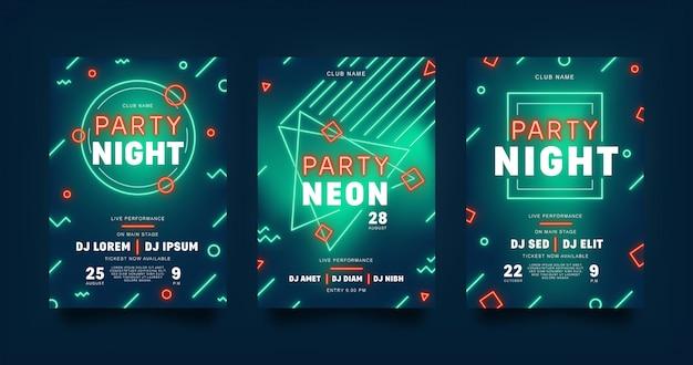 Neon minimalistischer flyer für party.