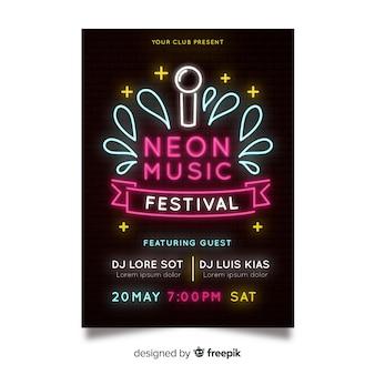 Neon musik festival plakat vorlage