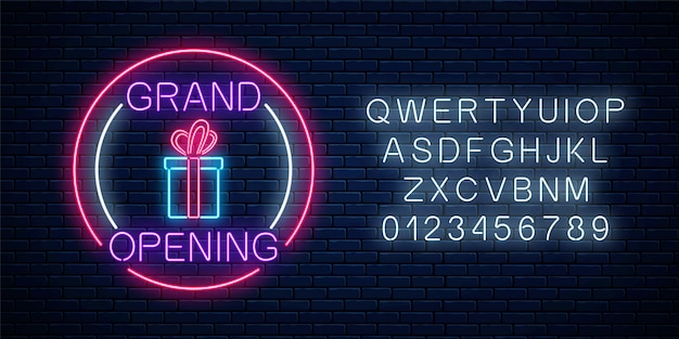 Neon neuer laden feierliche eröffnung mit lotterie und geschenkzeichen in kreisformen mit alphabet auf einem backsteinmauerhintergrund. rund um die uhr arbeitendes nachtclubschild mit schriftzug.