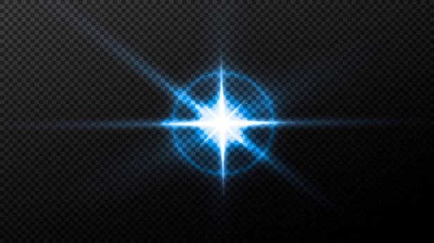 Neon oder blau light glow flare stars effekte.