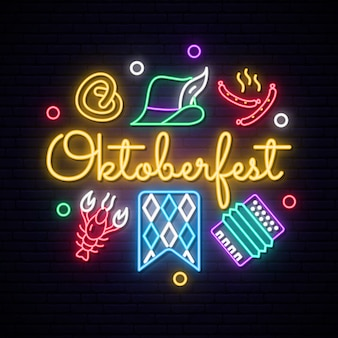 Neon oktoberfest icons set.