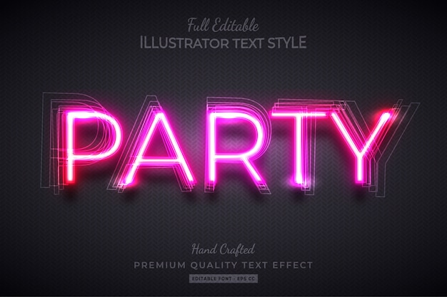 Neon party bearbeitbarer 3d-textstil-effekt premium