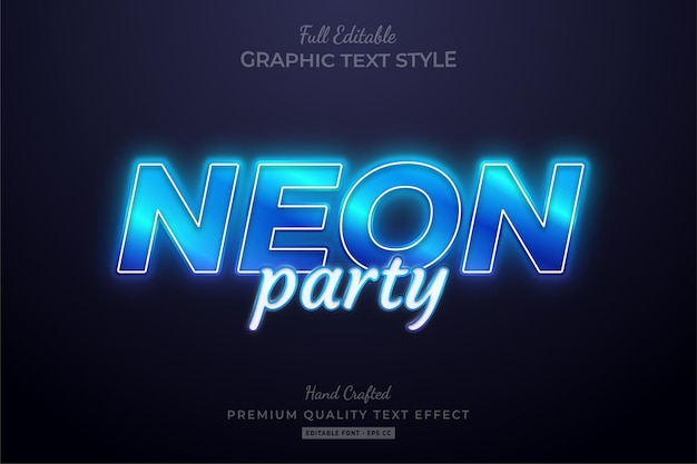 Neon party bearbeitbarer texteffekt-schriftstil