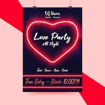Neon party flyer zum valentinstag