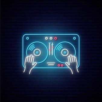 Neon-plattenspieler-zeichen-illustrationskonzept