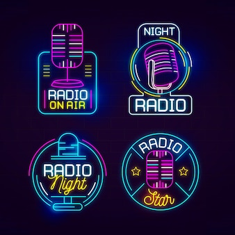 Neon podcast logo set