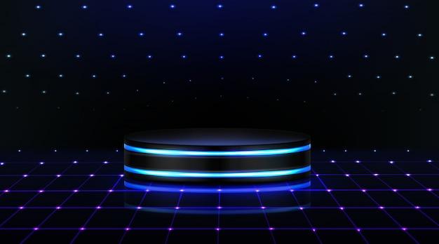 Neon podium. leere bühne im nachtclub, tanzfläche