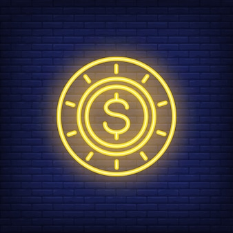 Neon-poker-chip mit dollarzeichen. spielendes konzept für helle werbung der nacht