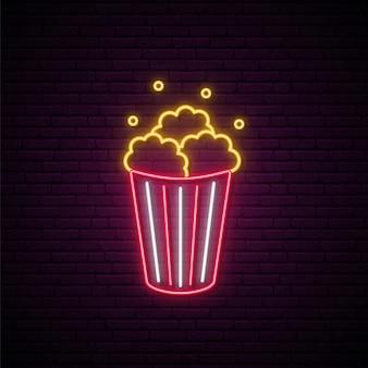 Neon popcorn zeichen.