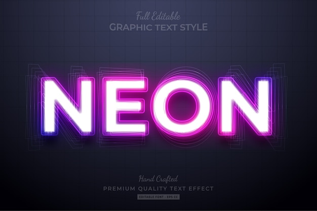 Neon purple editable text effect schriftstil