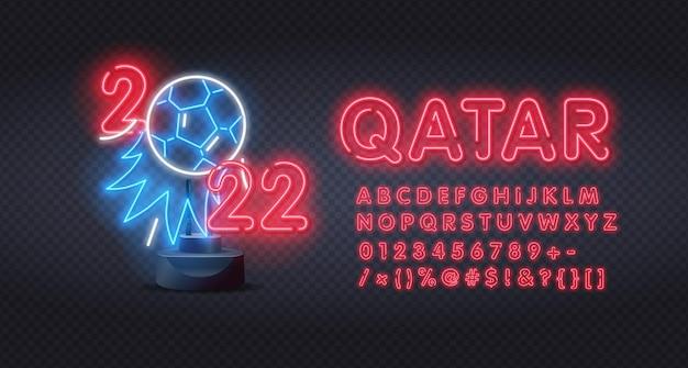Neon qatar 2022 mit alphabet im neonstil. fußballturnier, fußballpokal, hintergrund-design-vorlage, vektor-illustration, 2022