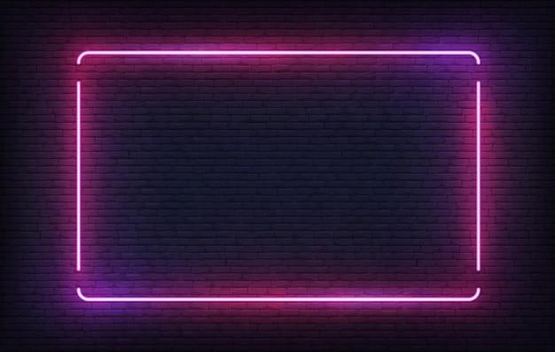 Neon-rahmen. lila licht banner design-vorlage. leuchtendes rechteck-schild.