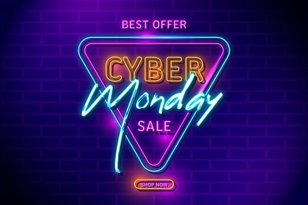 Neon retro beleuchtet cyber montag