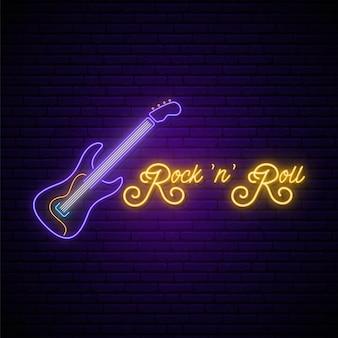 Neon rock and roll musik zeichen