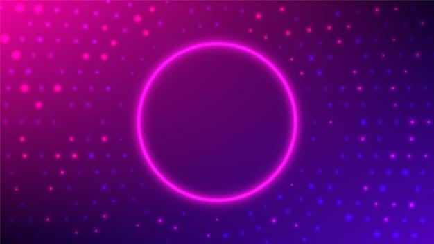 Neon runder rahmen abstrakter radialer halbtonhintergrund