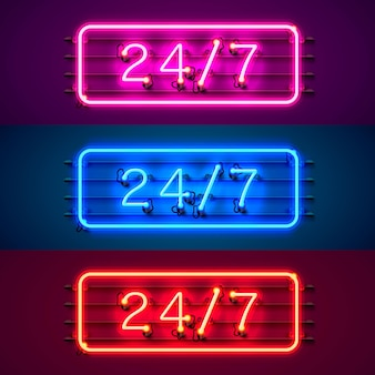 Neon-schild 24 7 offene zeit farbset. vektor-illustration