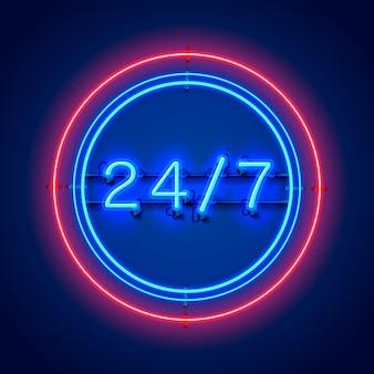 Neon-schild 24 7 offene zeit. vektor-illustration