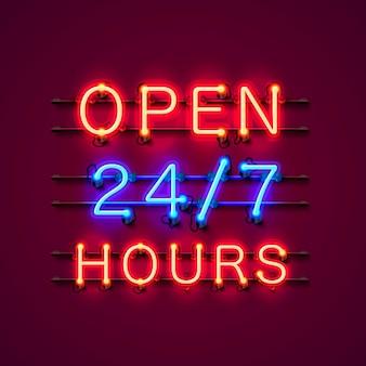 Neon-schild 24 7 stunden geöffnet. vektor-illustration