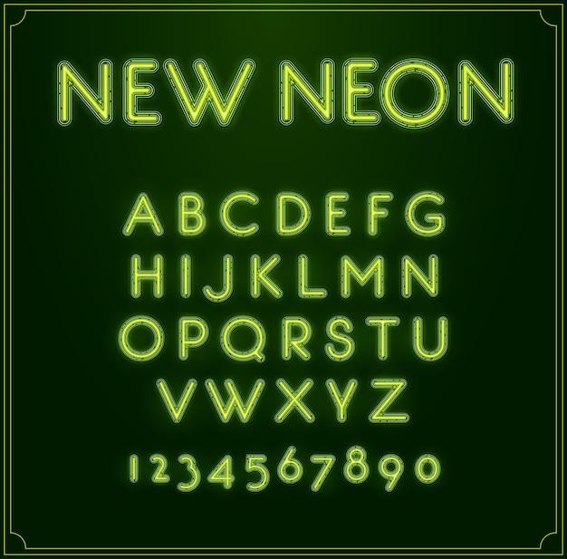 Neon schriftart alphabet. leuchtet hinein. mit zahlen.