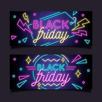 Neon schwarze freitag banner