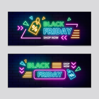 Neon schwarzer freitag banner gesetzt