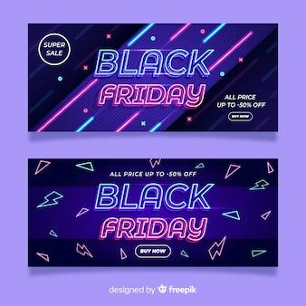 Neon schwarzer freitag banner