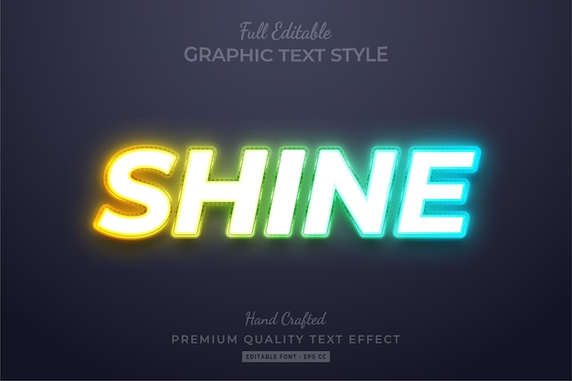 Neon shine bearbeitbarer benutzerdefinierter textstil-effekt premium