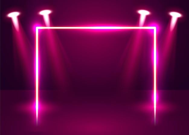 Neon show licht podium futuristischen hintergrund. vektorillustration