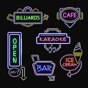 Neon signboards realistische nachtkollektion
