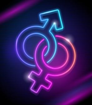 Neon singt von venus und mars - illustration. geschlechtssymbole.