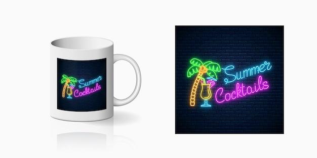 Neon sommer cocktail bar zeichen für tasse oder becher. glühender pina colada alkohol shake und handfläche