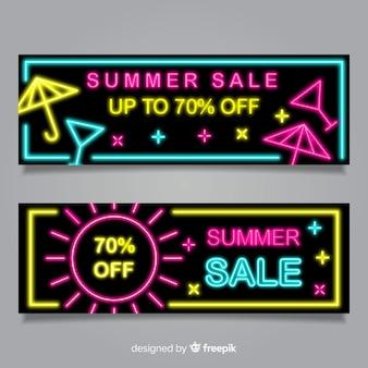 Neon sommerschlussverkauf banner