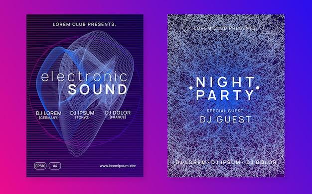 Neon-sound-flyer. electro-dance-musik. elektronische festveranstaltung. cl