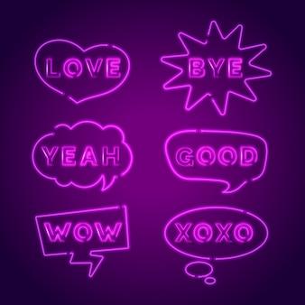 Neon sprechblasen mit verschiedenen ausdrücken packen
