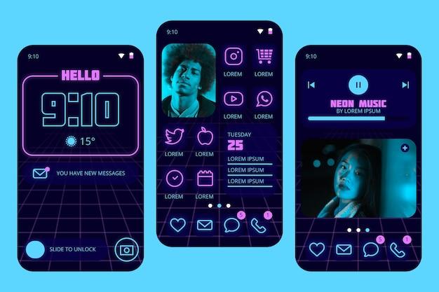 Neon-startbildschirm mit mann und frau