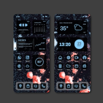 Neon-startbildschirm